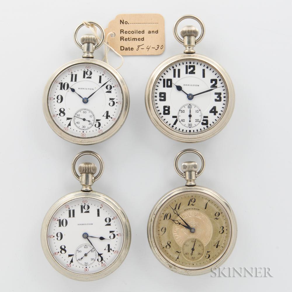 """Four Hamilton """"972"""" Open-face Watches"""