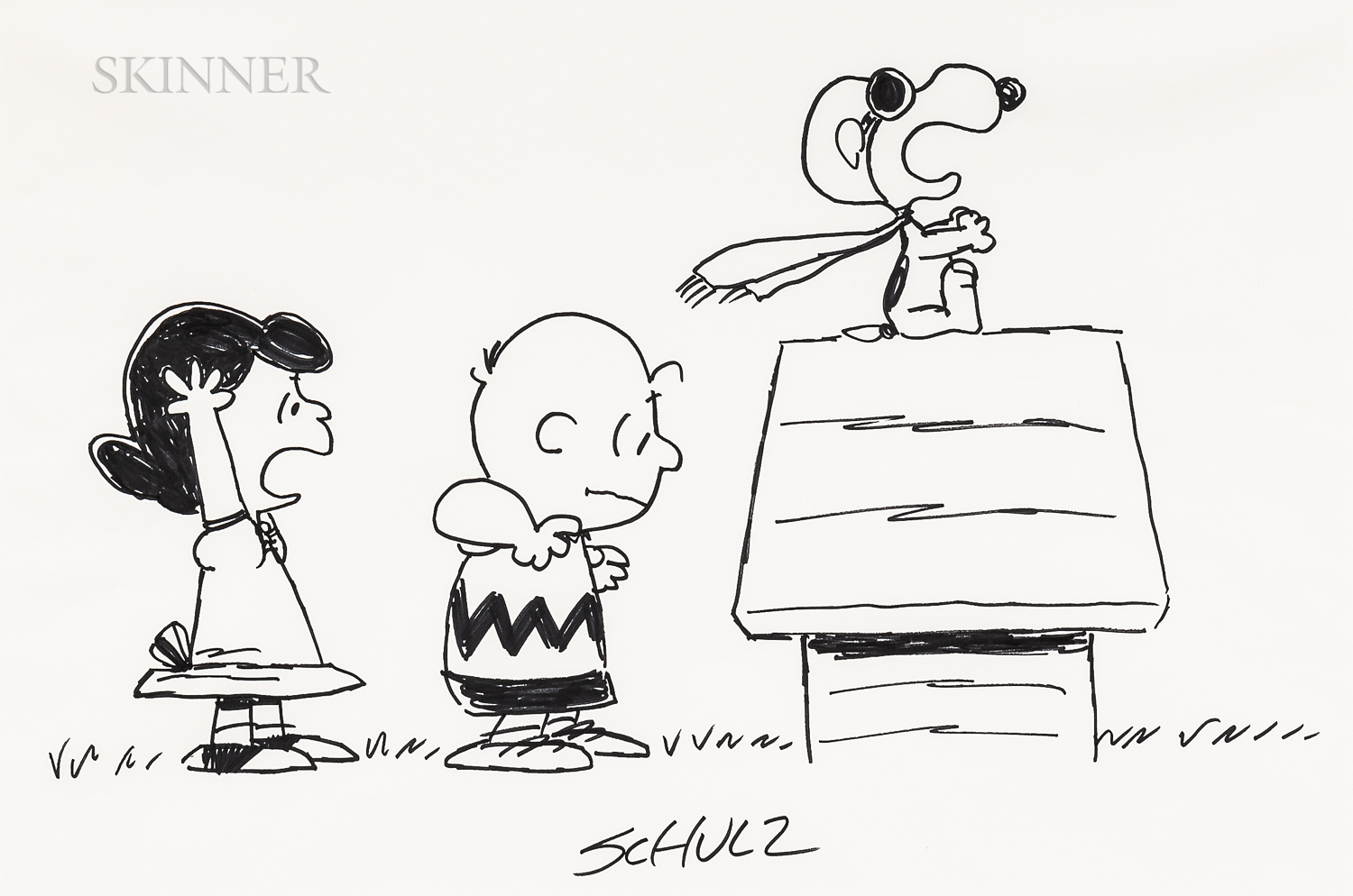 Charles M. Schulz (American, 1922-2000)      Lucy, Charlie Brown, and Snoopy