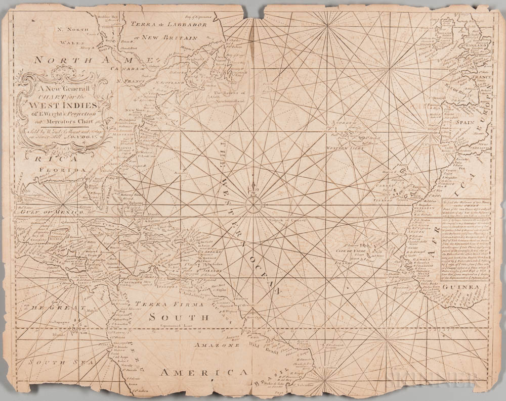 Atlantic Ocean, Western Hemisphere. A New General Chart for the West Indies of E. Wright's Projection, Mercator's Chart.