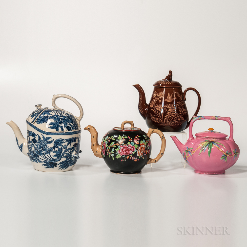 Four Earthenware Teapots