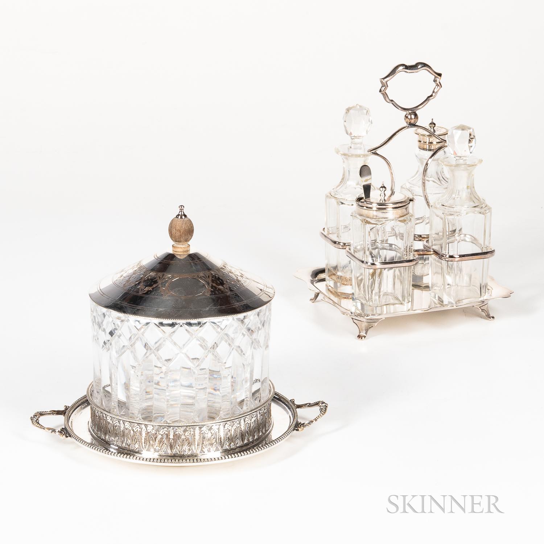 English Cracker Jar and Cruet Set