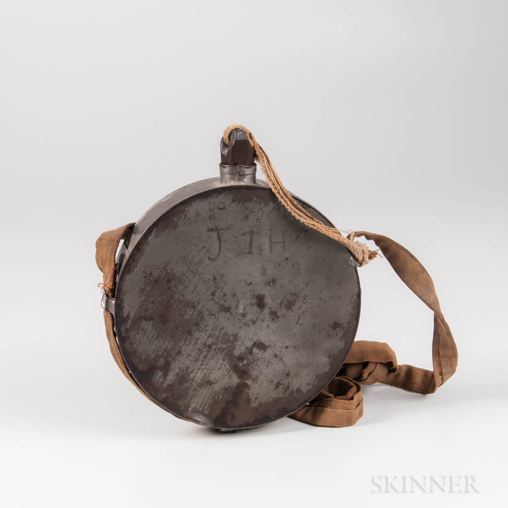 Confederate Tin Canteen and Strap Identified to Aaron Baxter, 48th and 49th North Carolina Volunteer Infantry