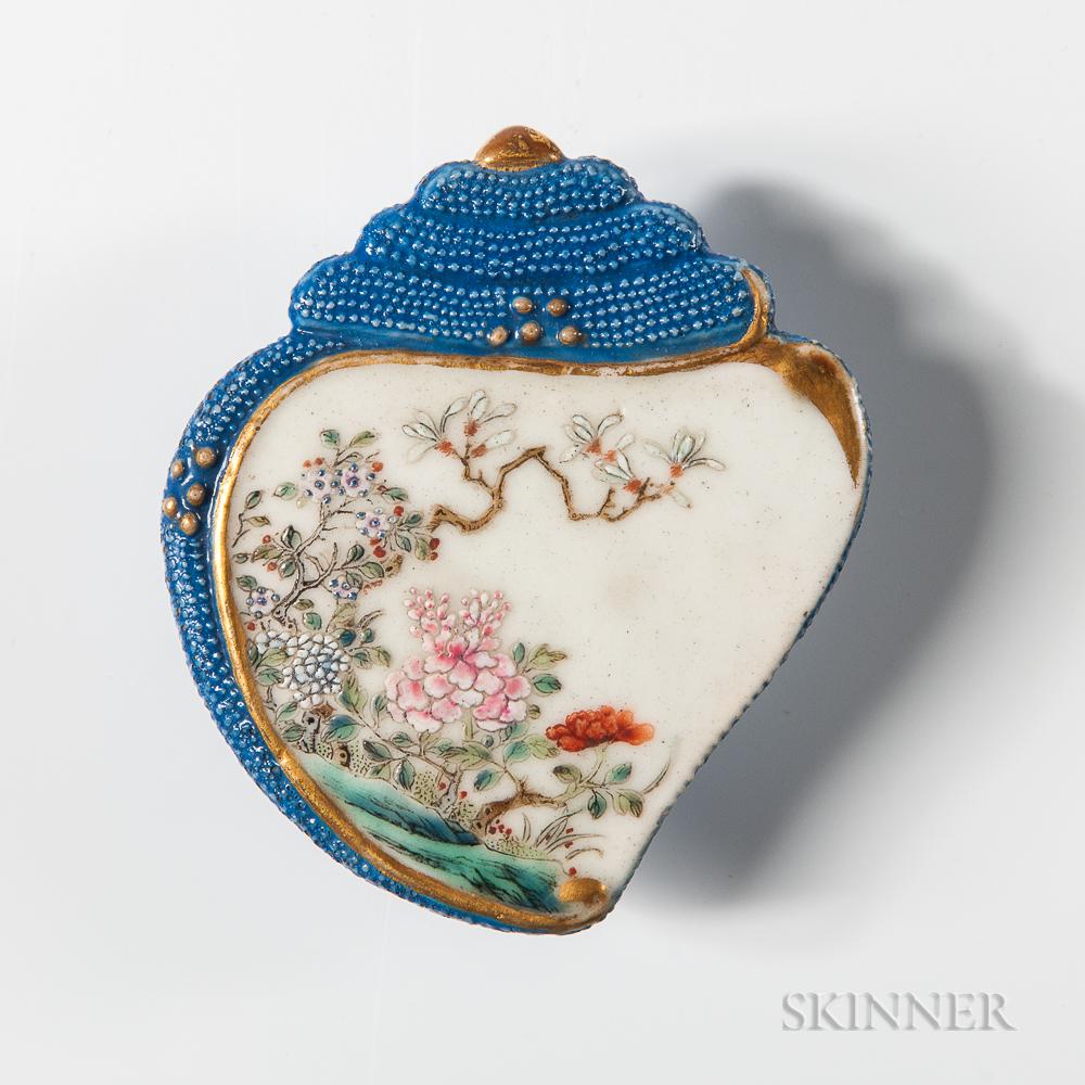 Small Blue-enameled Porcelain Ink Palette