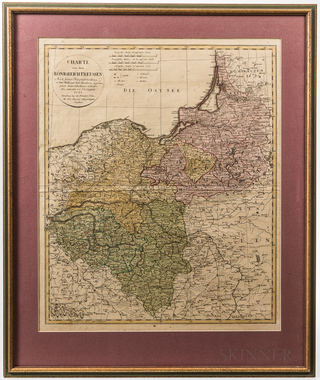 Three Framed Early European Hand-colored Maps.