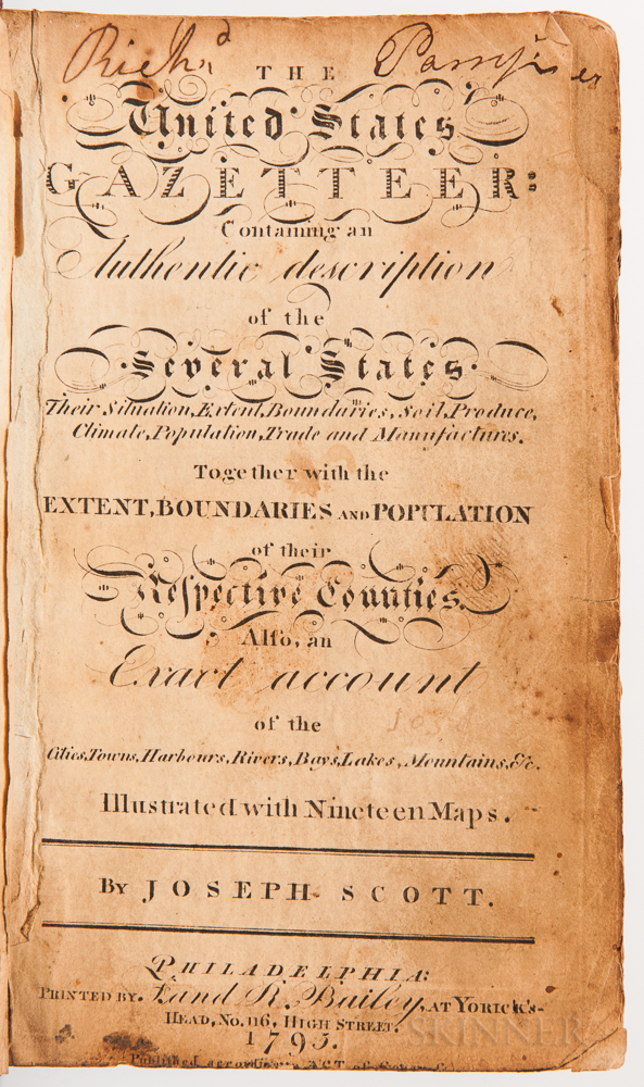 Scott, Joseph (fl. circa 1795) The United States Gazetteer: Containing an Authentic Description of the Several States.