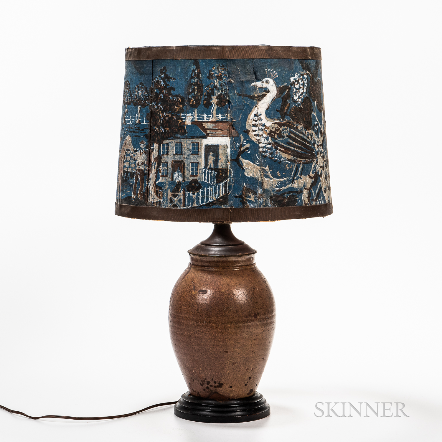 Glazed Redware Jar Mounted as a Lamp with Shade Made from a Wallpaper Box