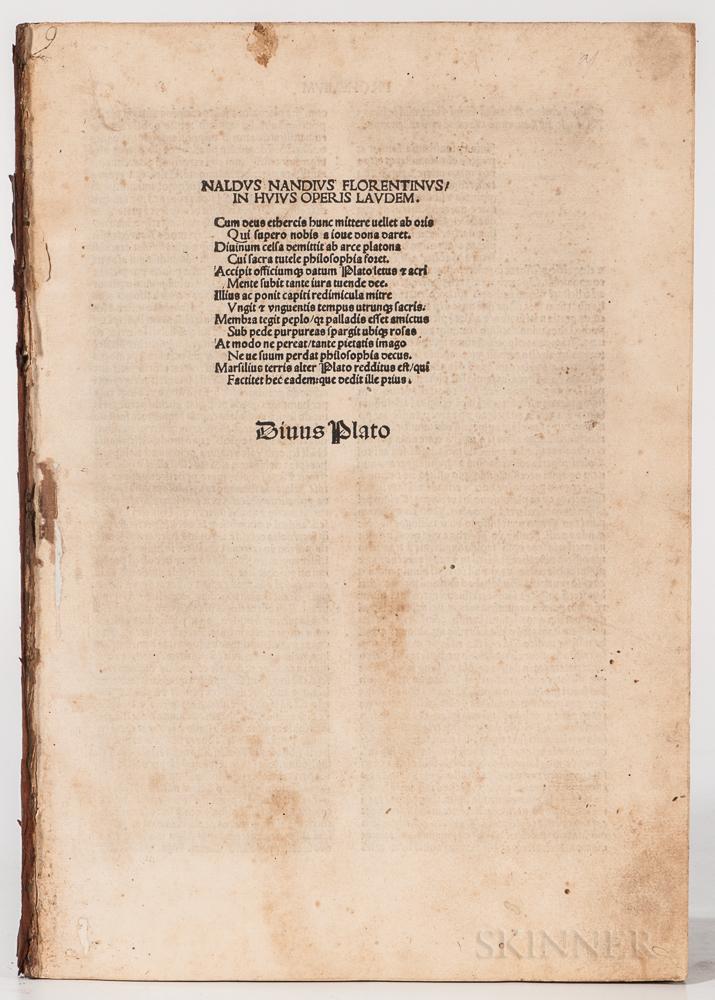 Plato (c. 428-348 BC) trans. Marsilius Ficino (1433-1499) Opera   [Latin].
