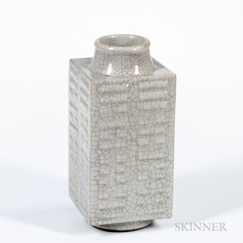"Crackle-glazed Celadon ""Cong"" Vase"