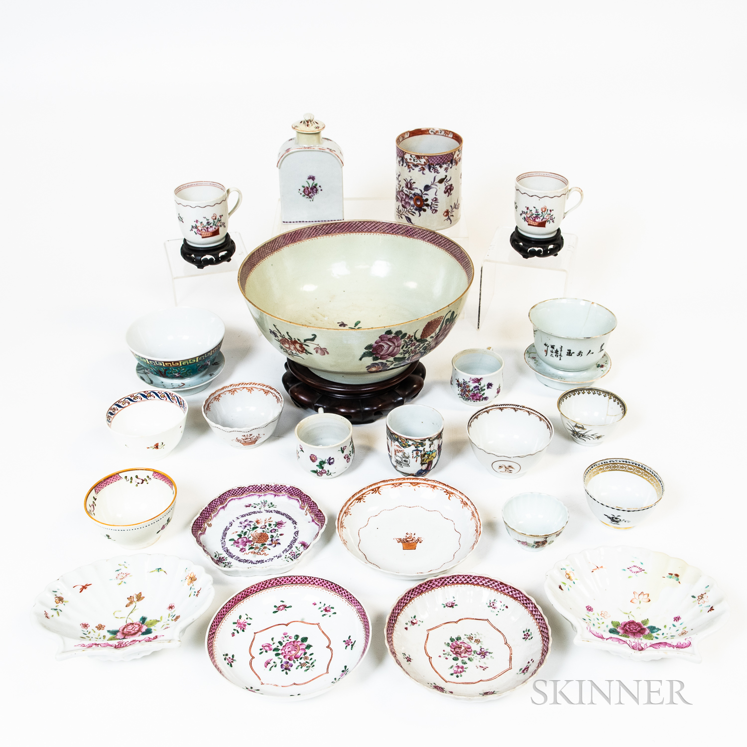 Group of Chinese Export Porcelain Bowls, Cups, Plates, and a Wooden Stand