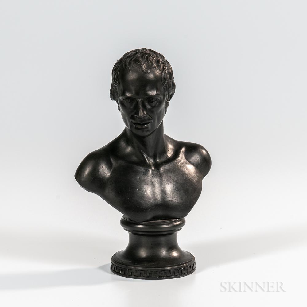 Wedgwood & Bentley Black Basalt Bust of Lawrence Sterne