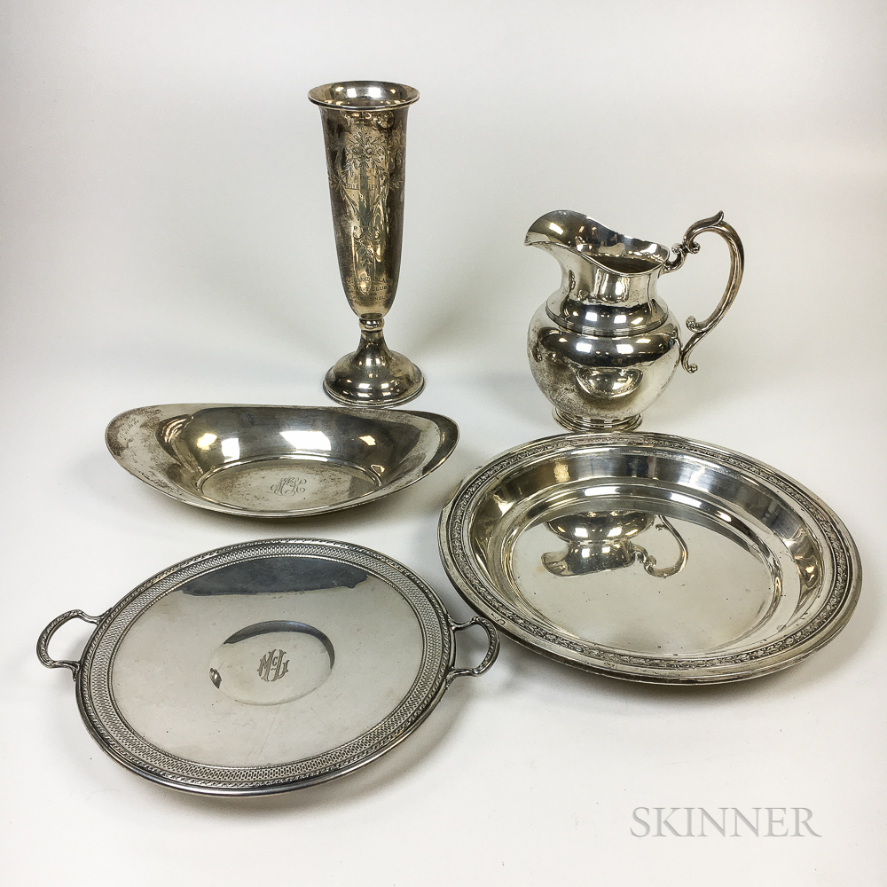 Five Pieces of American Sterling Silver Tableware