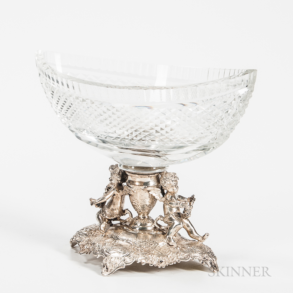 German .800 Silver and Glass Compote