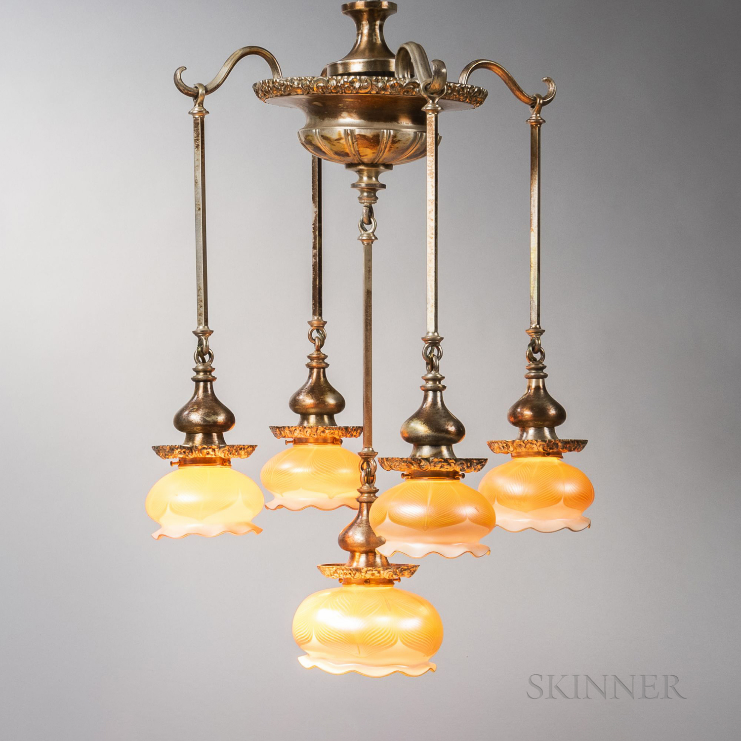 Art Nouveau Silvered Chandelier with Quezal Shades