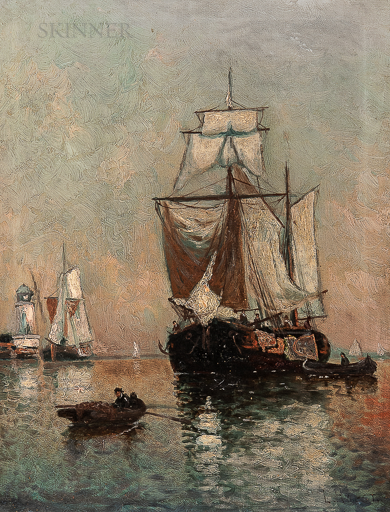 Laurits Bernhard Holst (Danish, 1848-1934)      Sailing Vessel in a Quiet Harbor with Approaching Dinghy