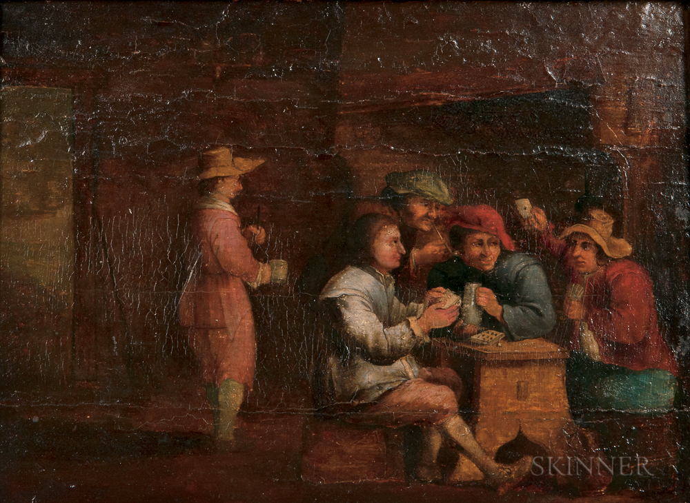 School of David Teniers the Elder (Flemish, 1582-1649)      Interior-Boors Playing Cards
