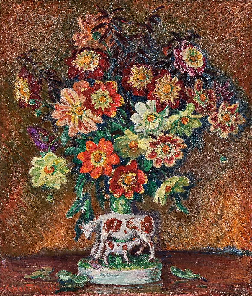 William Samuel Horton (American, 1865-1936)    Colorful Dahlias in a Staffordshire Spill Vase