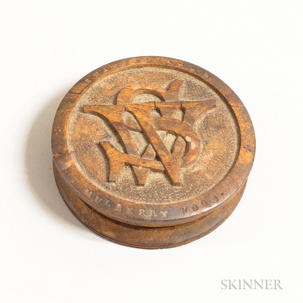 """""""Shakespeare's Mulberry Wood"""" Carved and Turned Snuff Box"""