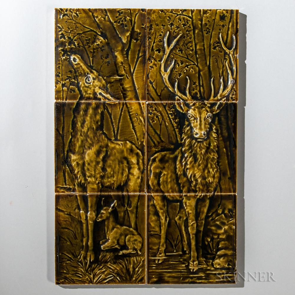 Six Trent Tile Co. Deer Pottery Tiles