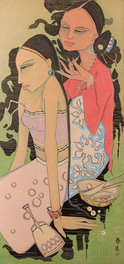 Tay Chee Toh (b. 1941) Watercolor, Hair Dressing