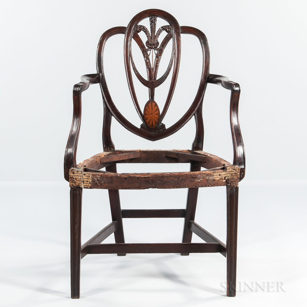 Carved and Inlaid Mahogany Shield-back Armchair