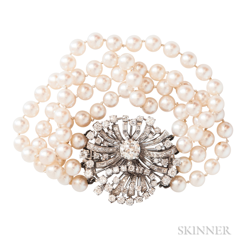 Diamond and Cultured Pearl Bracelet