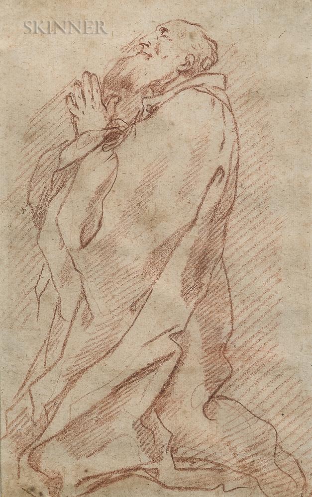 School of André Jean LeBrun (French, 1737-1811)      Sketch of a Bearded Saint, Probably St. Jerome, at Prayer