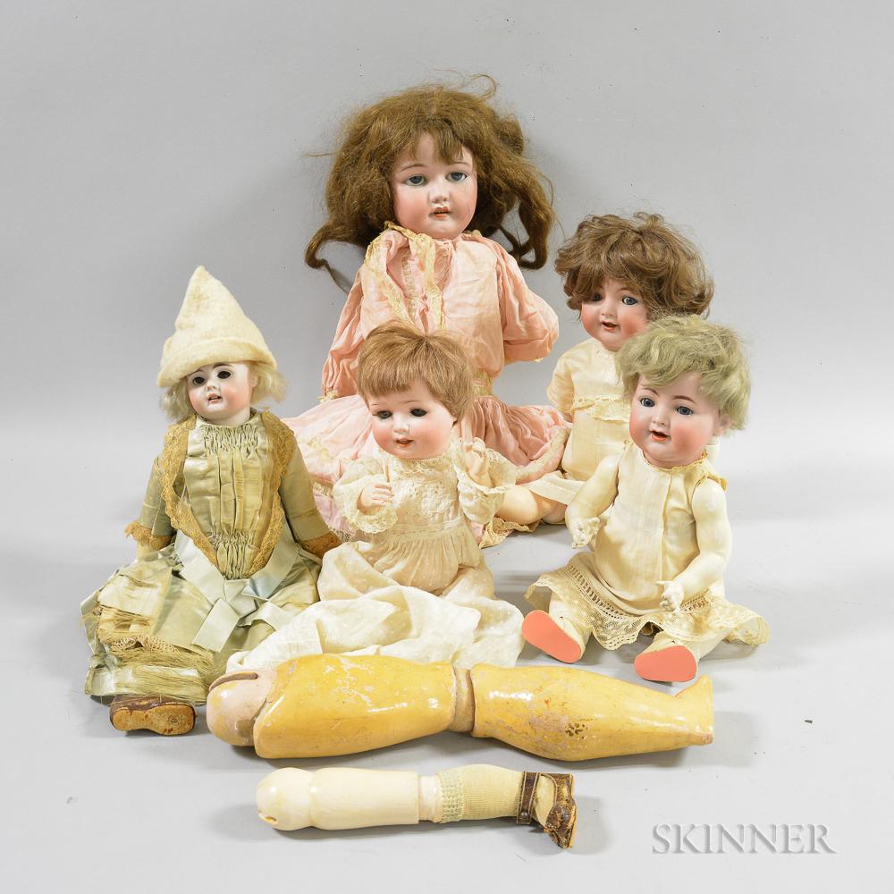 Five German Bisque Socket Head Dolls