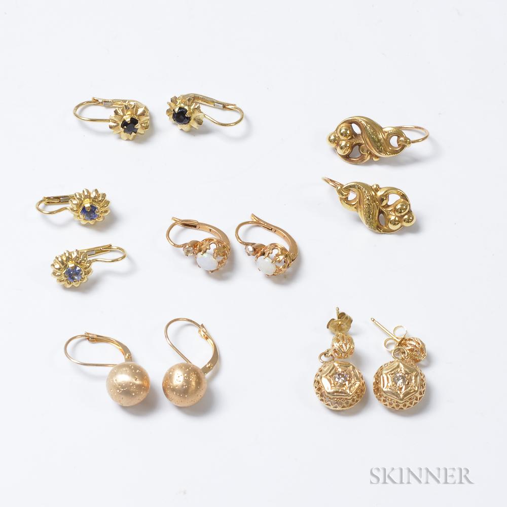 Six Pairs of Gold Gem-set Earrings