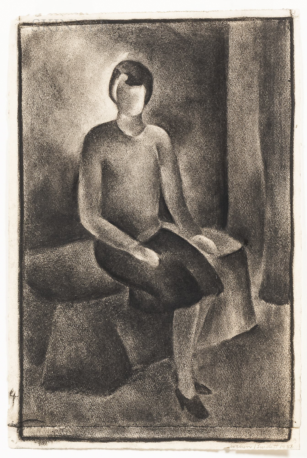 Evelyn Burdett (American, 20th Century)      Seated Female.