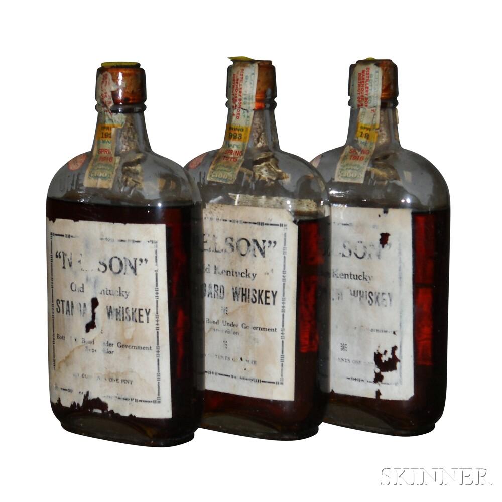 Nelson Old Kentucky Standard Whiskey 7 Years Old 1916, 3 pint bottles