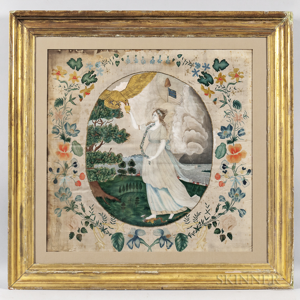 "Watercolor on Silk Picture After Edward Savage ""Liberty in the Form of the Goddess of Youth,"""
