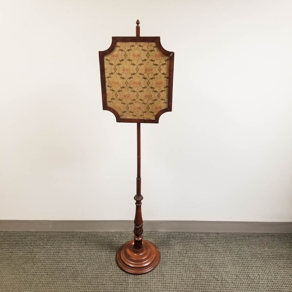 Carved Fruitwood and Mahogany Pole Screen