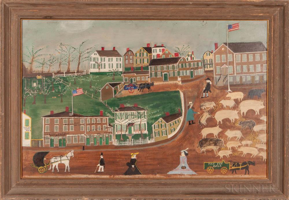 "Jonathan Orne Johnson ""J.O.J."" Frost (Massachusetts, 1852-1928)      Market Square at the Old Town House, Marblehead"