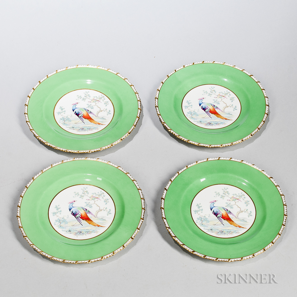 Set of Four Royal Crown Derby Peacock-decorated Luncheon Plates