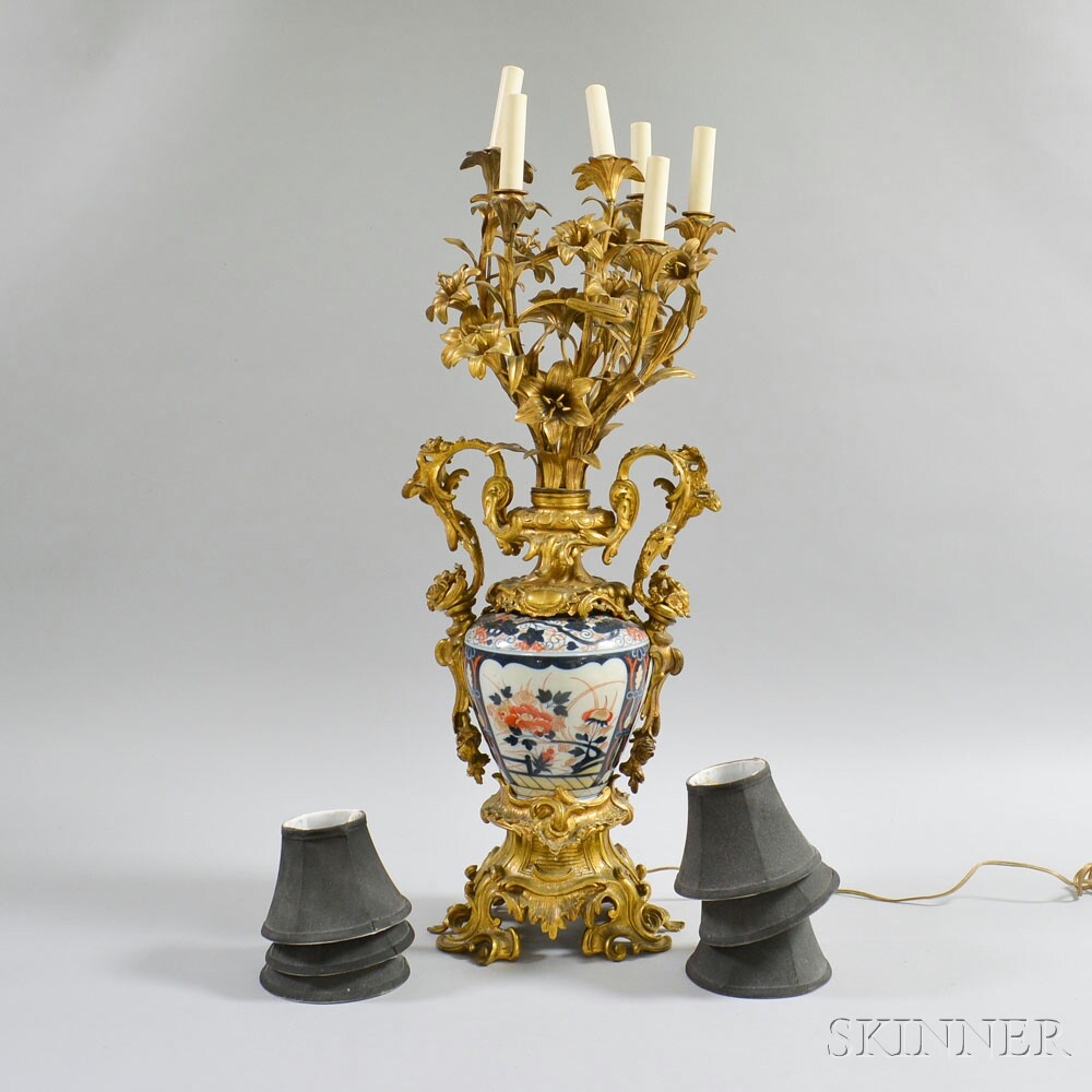Rococo-style Gilt-bronze and Imari Porcelain Six-light Table Lamp