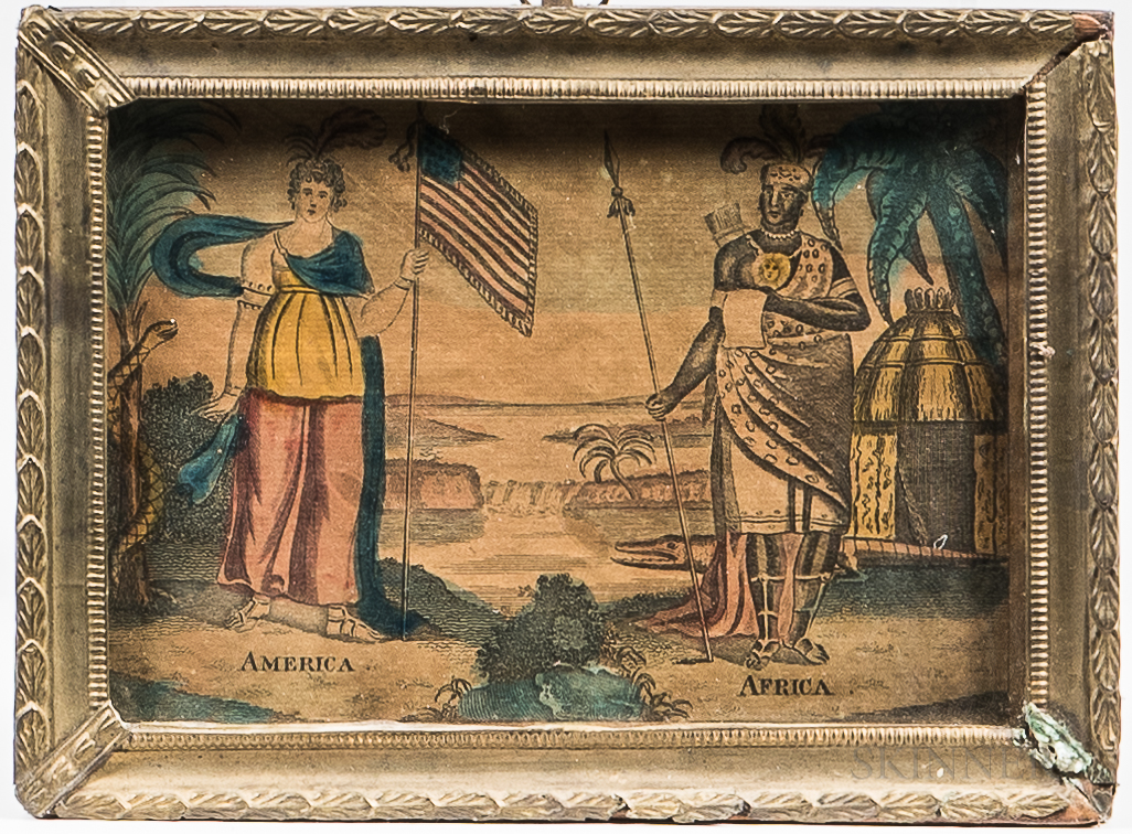 Two Framed Allegorical Works Depicting the Continents
