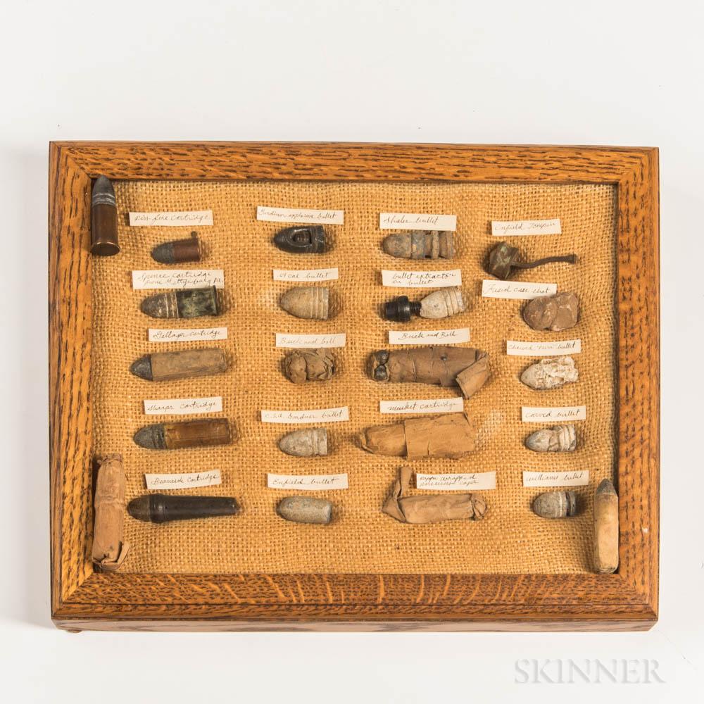 Framed Display of Civil War-era Cartridges and Bullets
