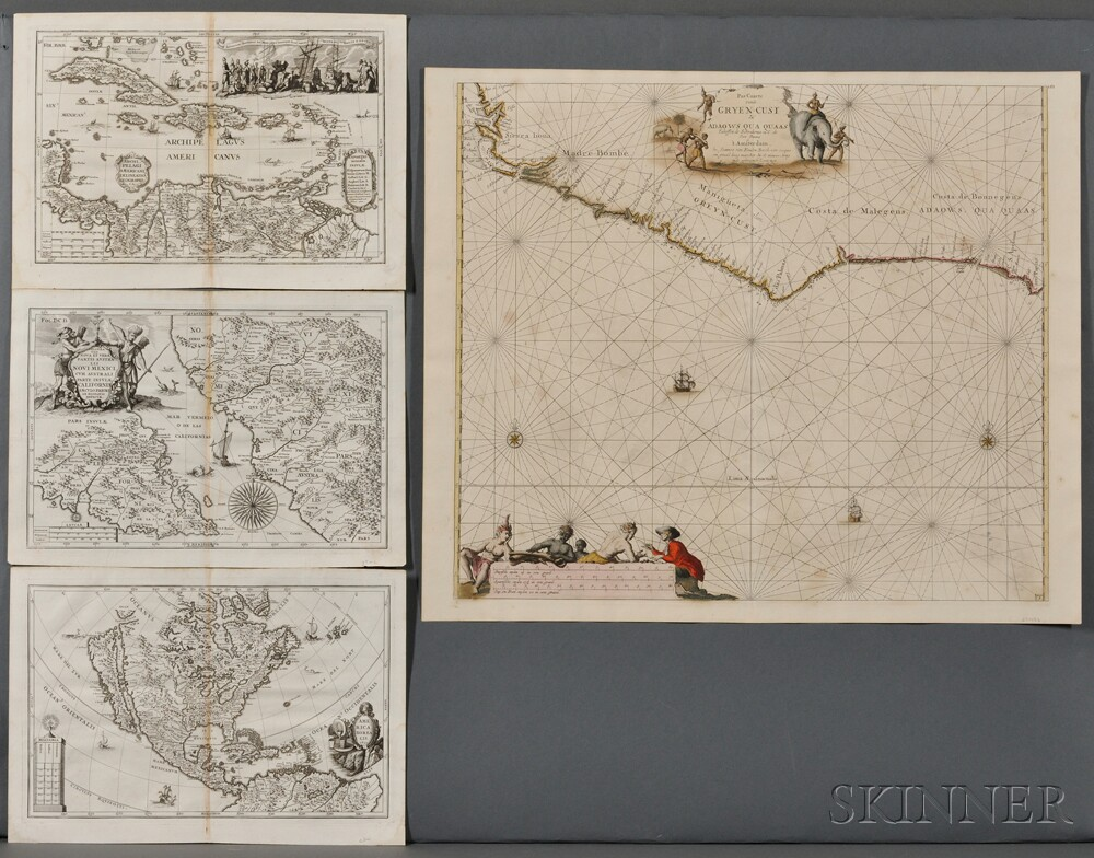 Map Lot, North and South America, Africa, Four Maps.