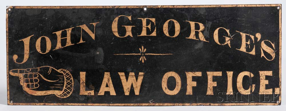 "Black-painted and Gilt Tinned Sheet Iron ""JOHN GEORGE'S LAW OFFICE."" Sign"