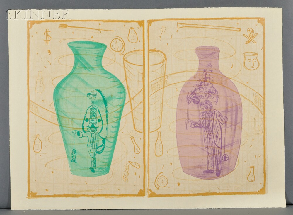 Robin Winters (American, b. 1950)      BOTTLE BRIGADE / A Suite of Three Prints