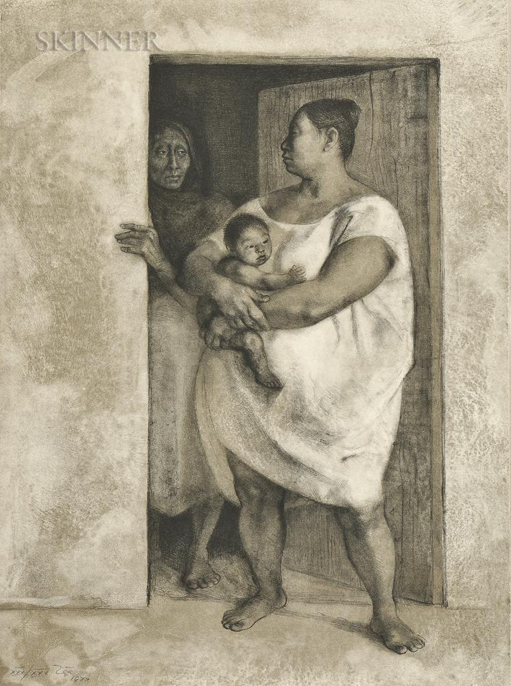 Francisco Zúñiga (Mexican, 1912-1998)      Mujeres con Niño en la Puerta