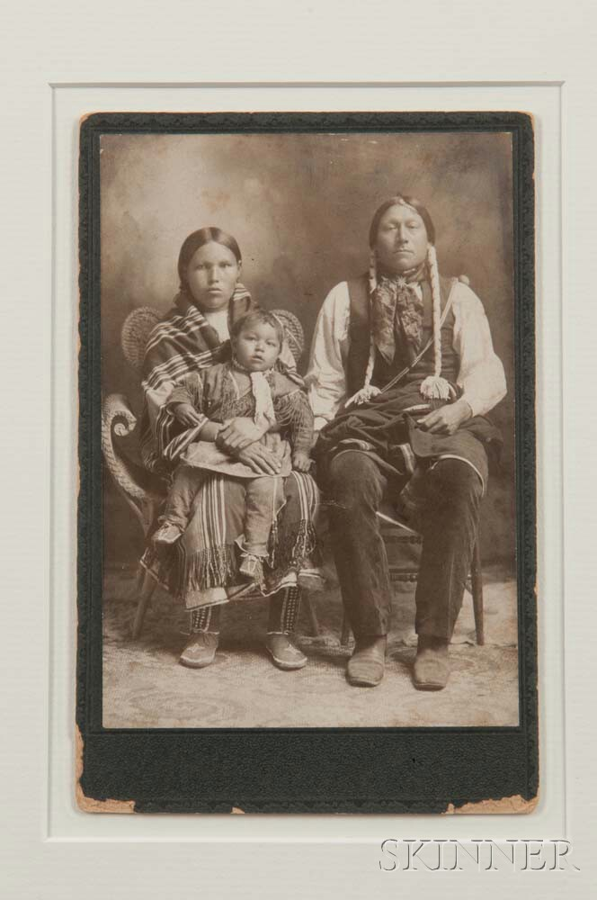 """Framed Photograph of """"Kiowa Bill and Squaw Amegeta with papoose Kicking Eagle,"""""""