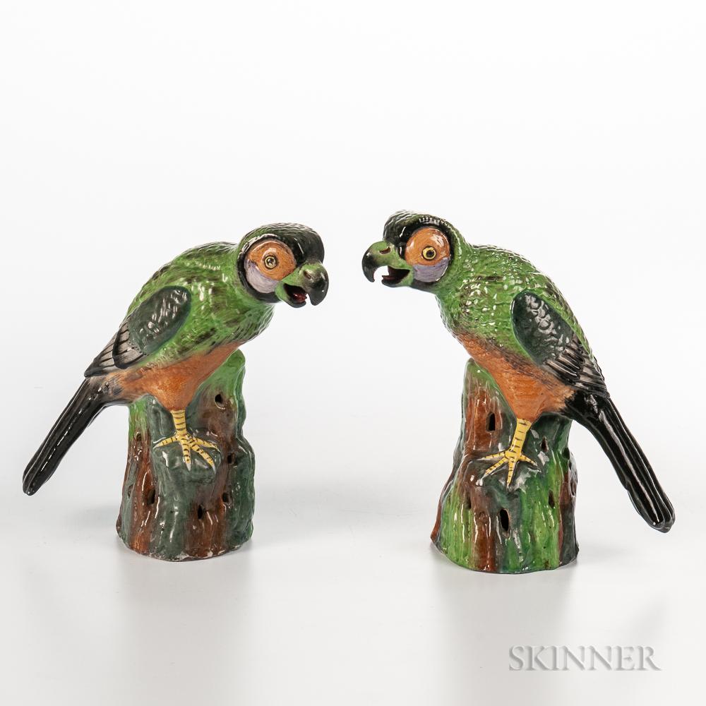 Pair of Famille Verte Parrots