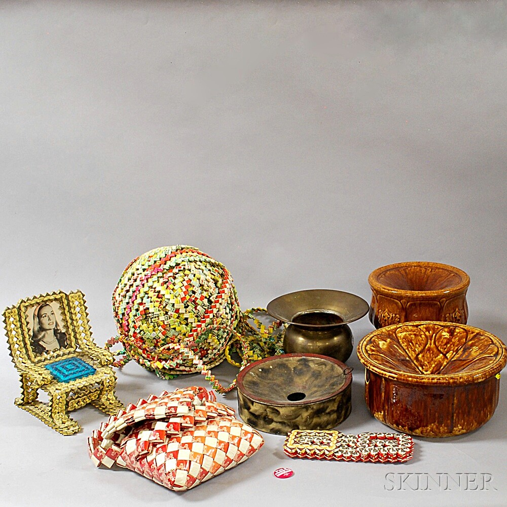 Four Spittoons and Four Wrapper Art Items