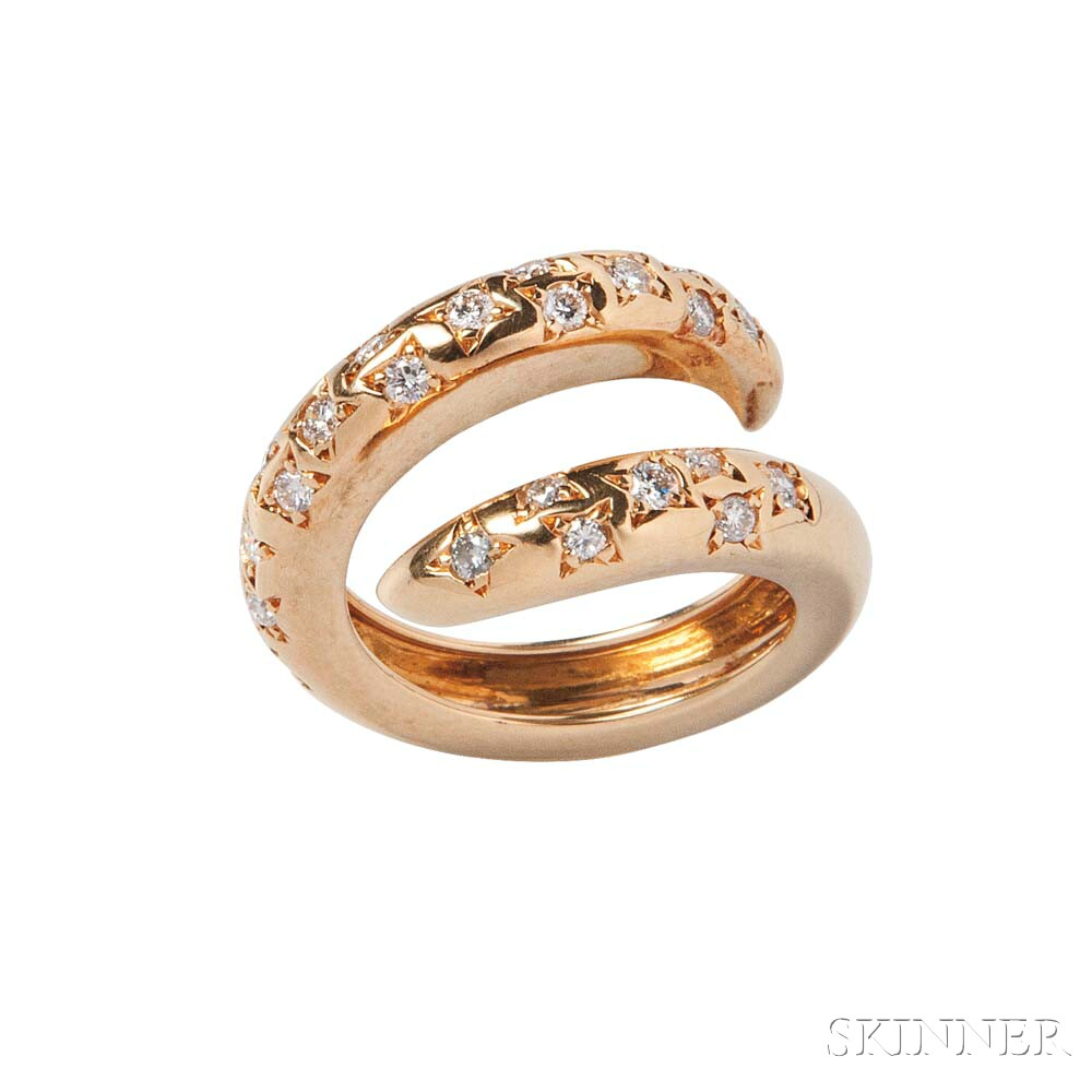 18kt Gold and Diamond Bypass Ring, Chaumet