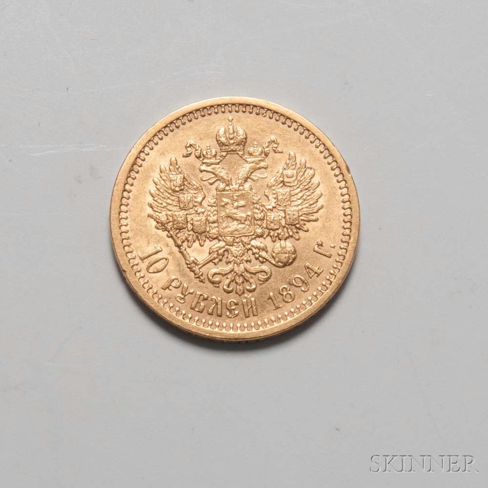 1894 Russian 10 Rouble Gold Coin, Bitkin-23.     Estimate $2,000-2,500