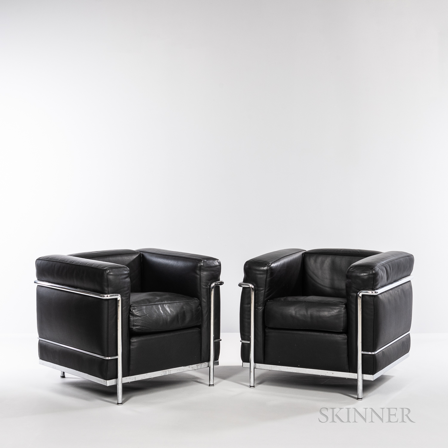Two Le Corbusier (French, 1887-1965) by Cassina LC2 Armchairs