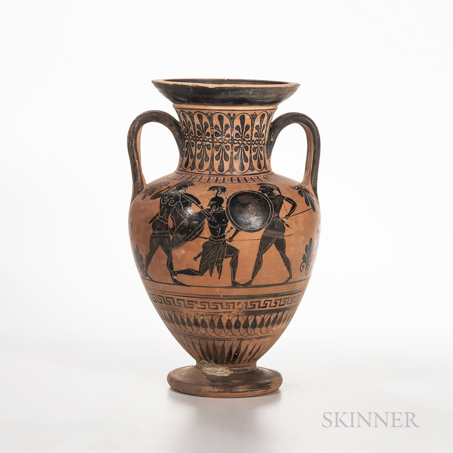 Ancient Attic Black-figure Squat Amphora