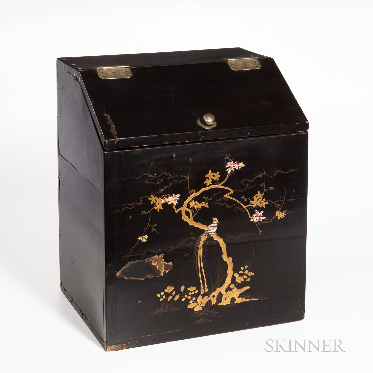 Gilt-decorated Black Lacquer Chest