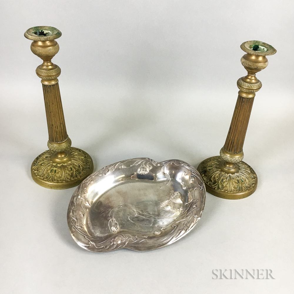 Pair of Brass Candlesticks and a Silver-plated Tray